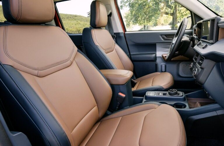 2022 Ford Maverick interior front seats with leather trim