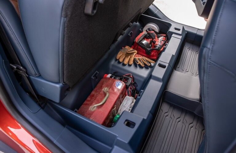 2022 Ford Maverick underseat bench storage compartment