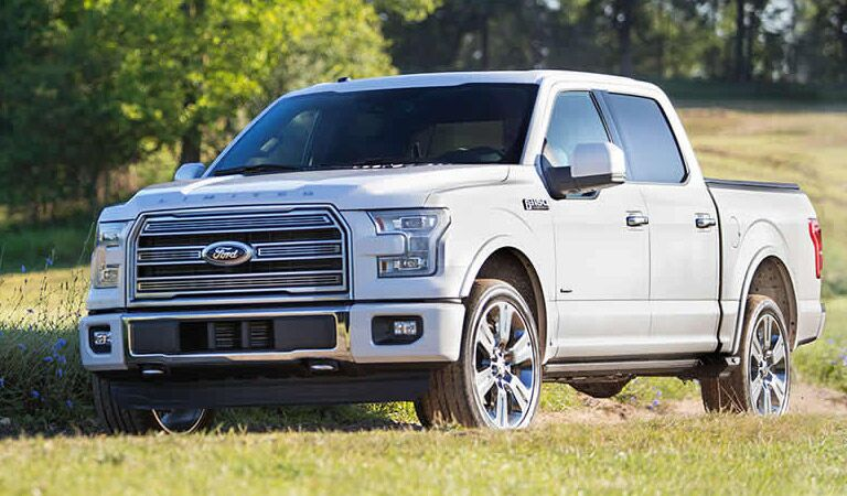 white Ford F-150 Limited truck on the farm