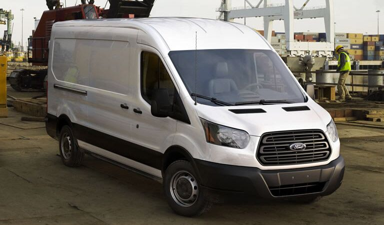 Tall Ford Transit cargo van in white