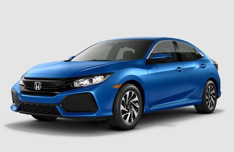 2017 Honda Civic Hatchback Side View in Blue
