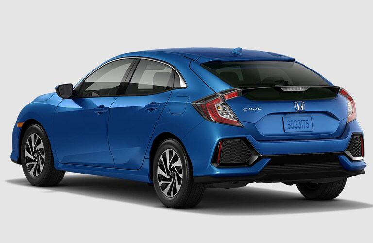 2017 Honda Civic Hatchback Rear End View in Blue