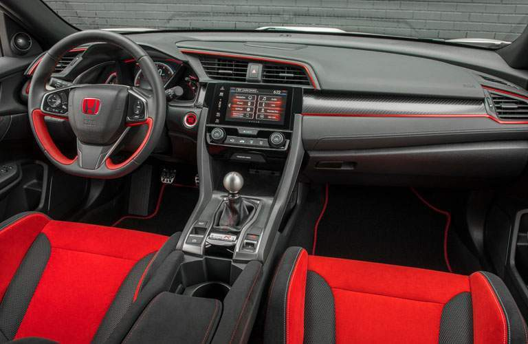 2017 Honda Civic Type R Interior view of front seats, steering wheel, and dashboard