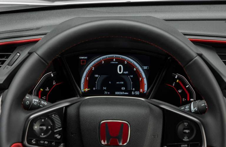 2017 Honda Civic Type R Interior view of steering wheel and speedometer display