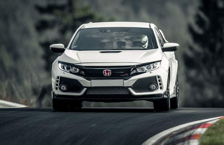 2017 Honda Civic Type R Front view on track in white