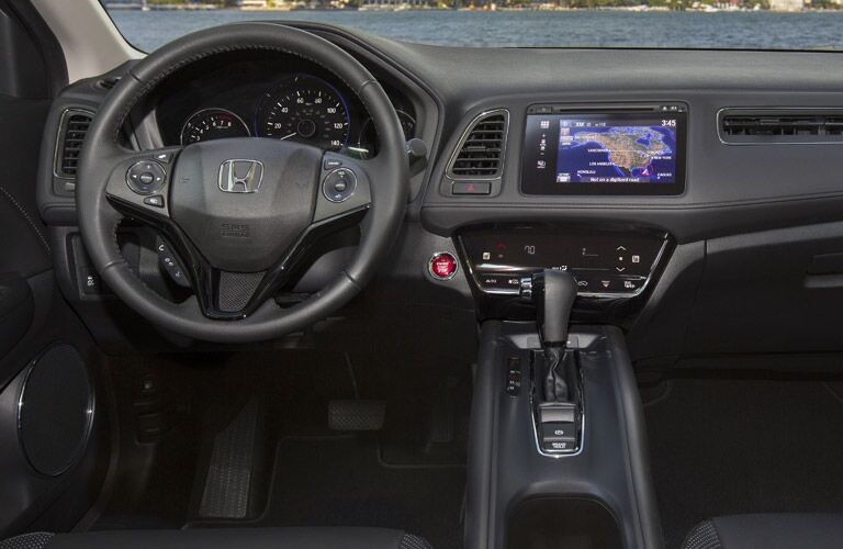 Interior View of the Steering Wheel and Center Console in the 2017 Honda HR-V