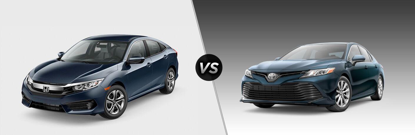 2018 Honda Civic in Navy vs 2018 Toyota Corolla in Blue