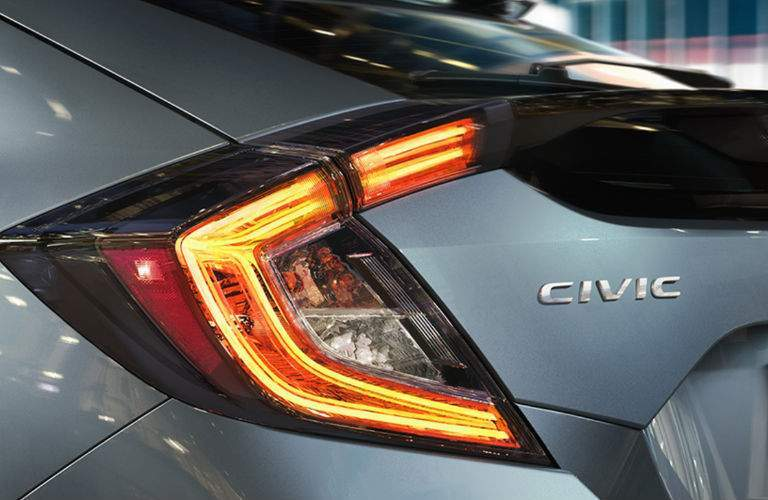 2018 Honda Civic Hatchback Rear Taillight and Civic Emblem on Rear End