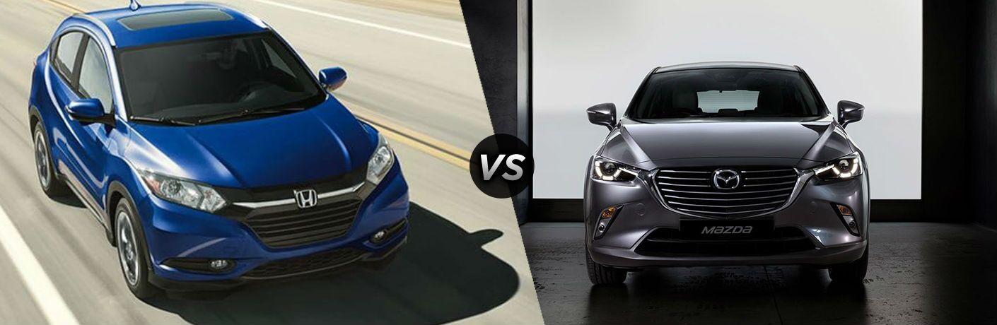 2018 Honda HR-V in Blue vs 2018 Mazda CX-3 in Gray