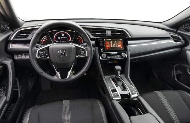2020 Honda Civic Coupe dashboard and steering wheel