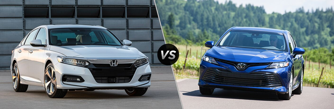 A side-by-side comparison of the front ends of the 2018 Honda Accord vs. 2018 Toyota Camry