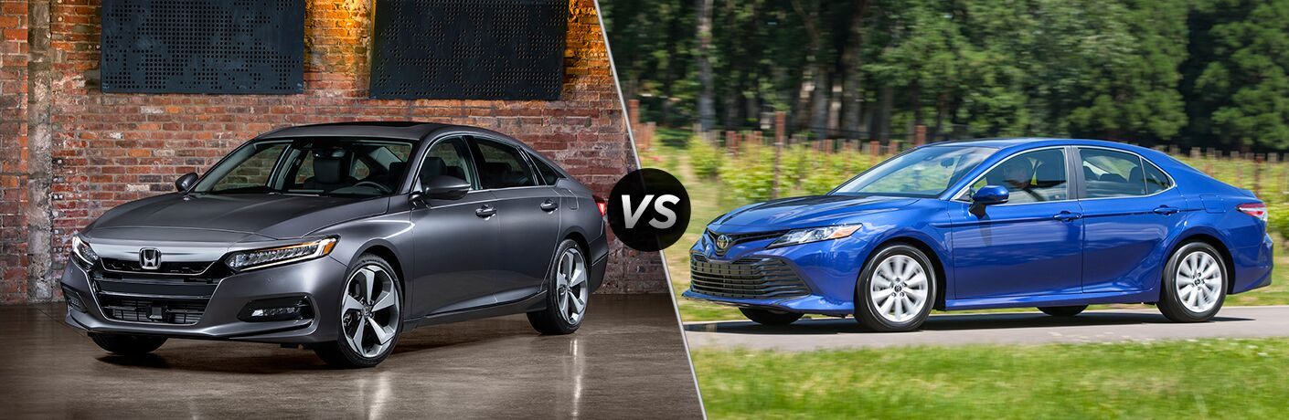 Side-by-side comparison photos of the 2018 Honda Accord vs. 2018 Toyota Camry if left profile view