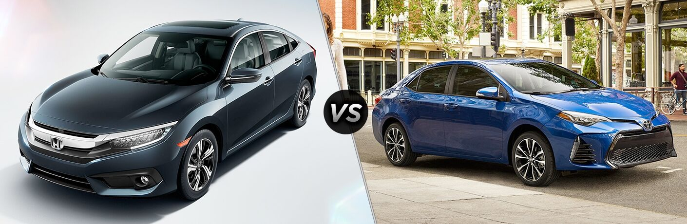 Another side-by-side comparison of the 2018 Honda Civic vs. 2018 Toyota Corolla.