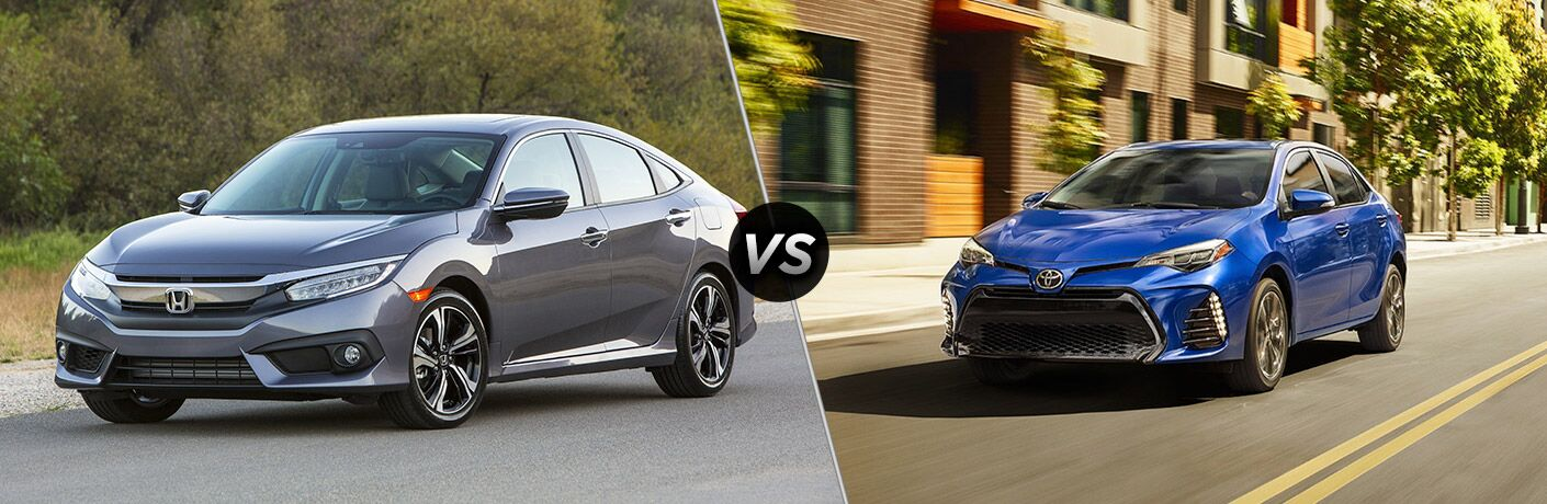 A front left quarter photo of the 2018 Honda Civic sedan vs. 2018 Toyota Corolla side-by-side.