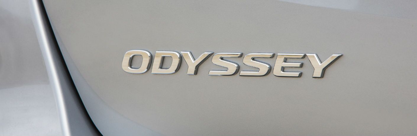 A photo of the Odyssey badge on the 2019 Honda Odyssey.
