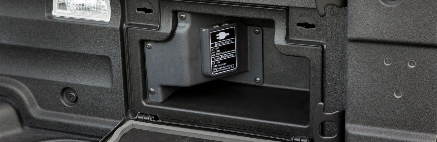 A photo of the power outlet in the cargo bed of the 2019 Honda Ridgeline.