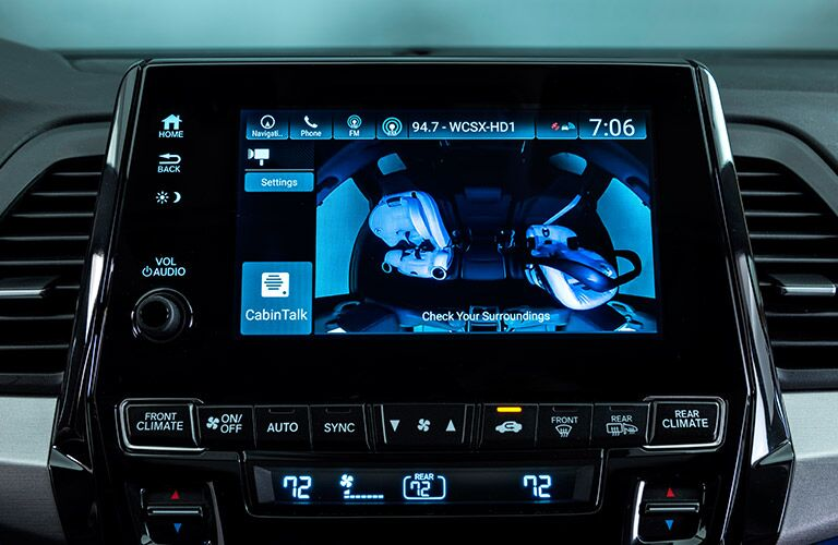 A close up photo of the touchscreen interface in the 2018 Honda Odyssey.