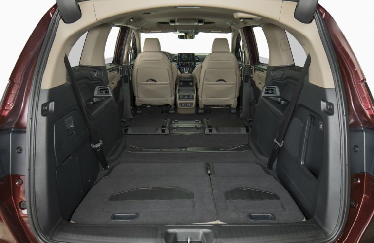 A photo of the maximum available cargo space in the 2019 Honda Odyssey.