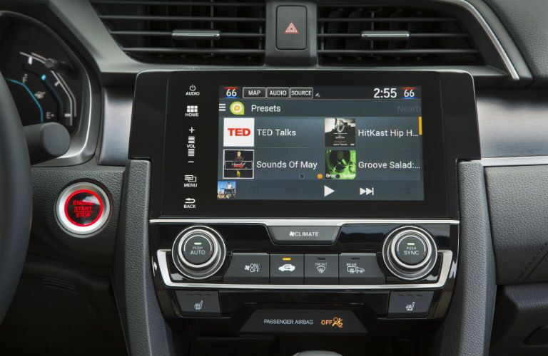 A close up photo of a version of the infotainment system equipped in the 2018 Civic.