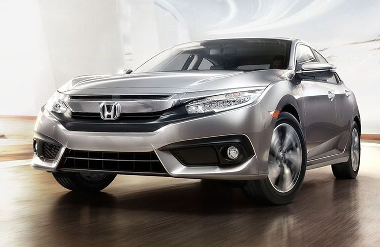 Honda Civic Front End and Side View in Silver