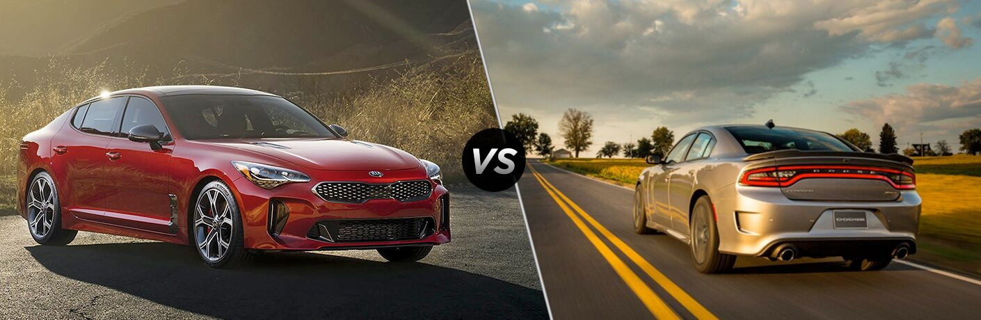 2018 Kia Stinger Red Exterior with Sunny Background vs 2018 Dodge Charger Gray Exterior on Highway