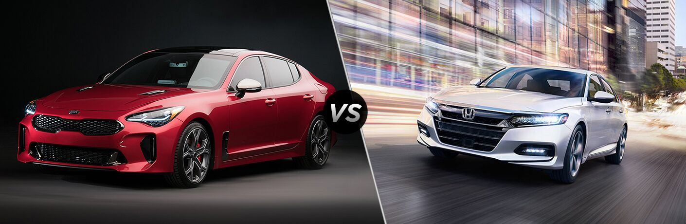 2018 Kia Stinger Red Exterior with Dark Background vs 2018 Honda Accord White Exterior with Bright Neon Background