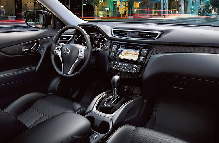 dash and interior of nissan rogue