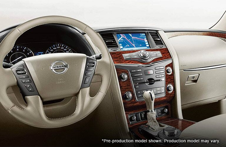 Steering Wheel and Dash view of the 2017 Nissan Armada