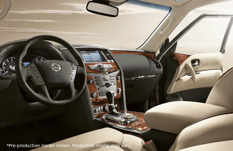 Interior view of the Dashboard and Steering Wheel in the 2017 Nissan Armada