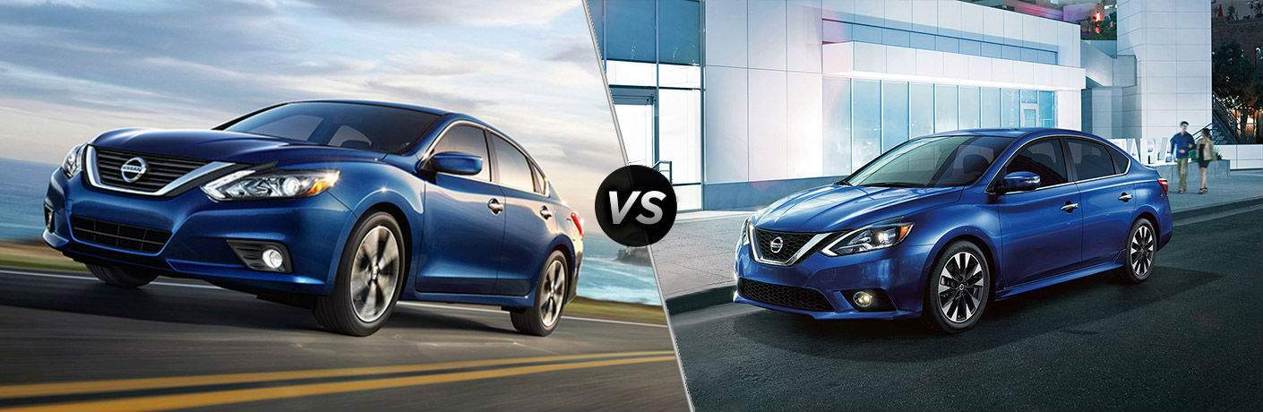 2018 Nissan Altima vs 2018 Nissan Sentra side by side comparison image