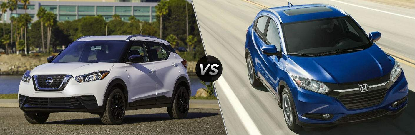 White 2018 Nissan Kicks on left vs Blue 2018 Honda HR-V on right