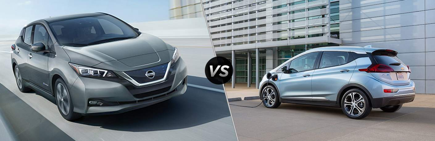 2018 Nissan Leaf vs 2017 Chevy Bolt side by side comparison image