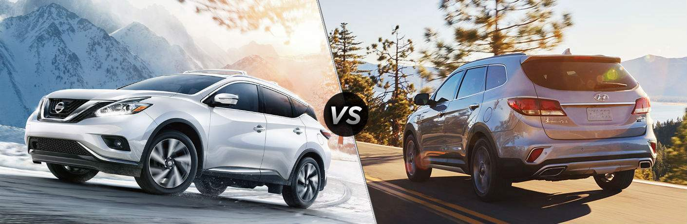 White 2018 Nissan Murano vs 2018 Hyundai Sante Fe on right