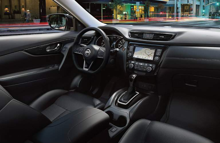 Black interior of the 2018 Nissan Rogue