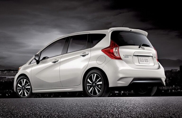 Side view of a white 2018.5 Nissan Versa Note