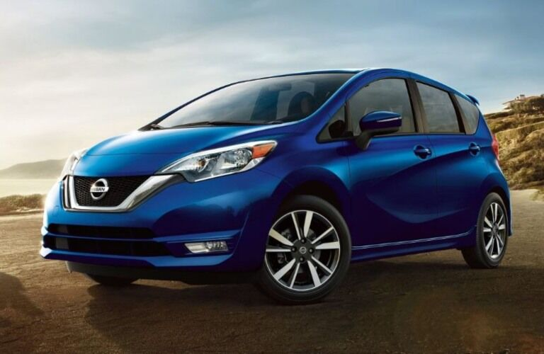 Front view of a blue 2018.5 Nissan Versa Note