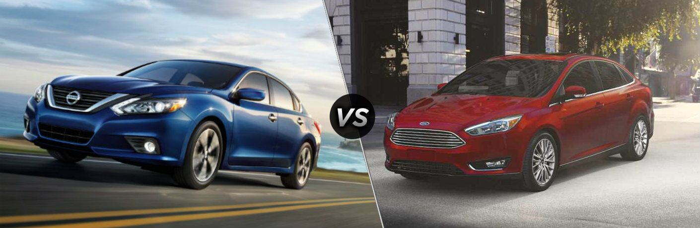 Blue 2018 Nissan Altima and red 2018 Ford Focus side by side