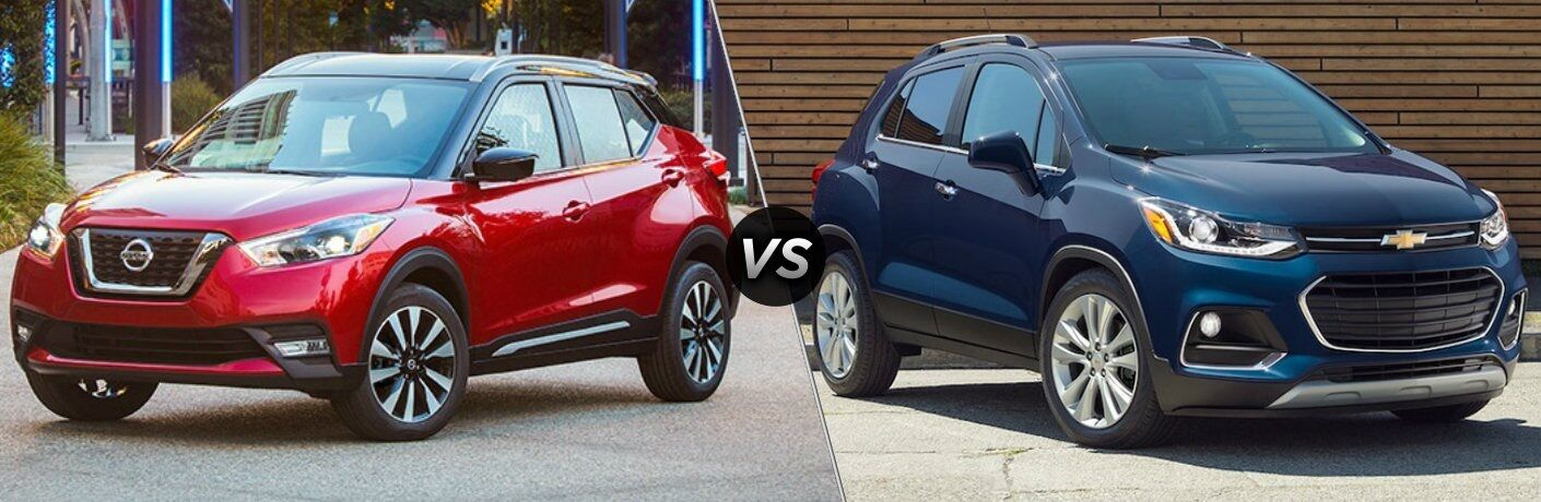 Red 2018 Nissan Kicks and blue 2018 Chevy Trax side by side