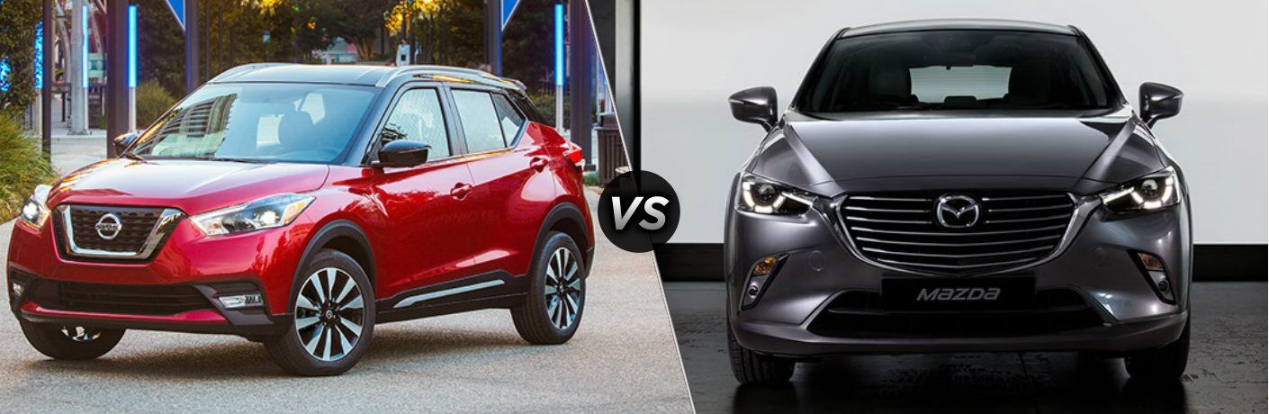 Red 2018 Nissan Kicks and gray 2018 Mazda CX-3 side by side