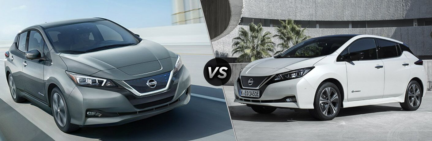 Silver 2018 Nissan LEAF and white 2019 Nissan LEAF side by side