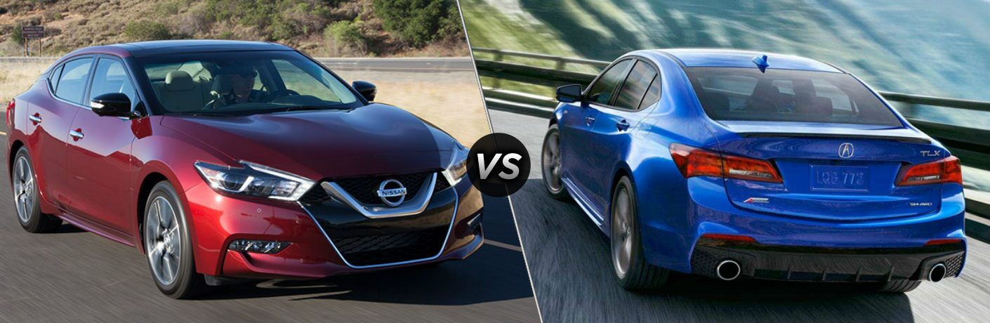 Red 2018 Nissan Maxima and blue 2018 Acura TLX side by side