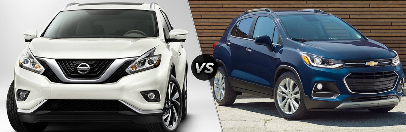 White 2018 Nissan Murano and blue 2018 Chevrolet Trax side by side