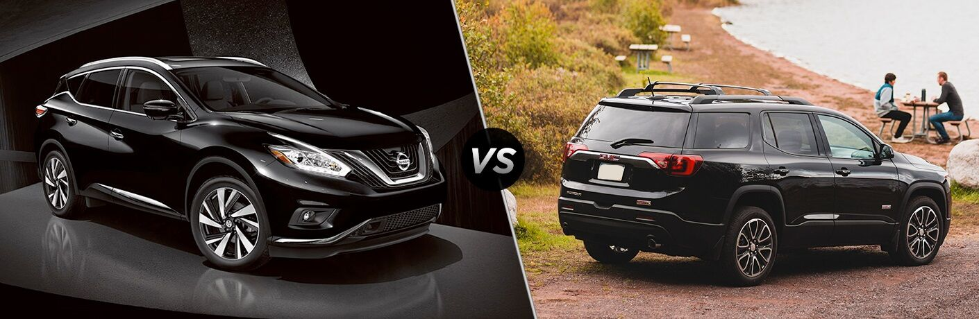 Black 2018 Nissan Murano and black GMC Acadia side by side