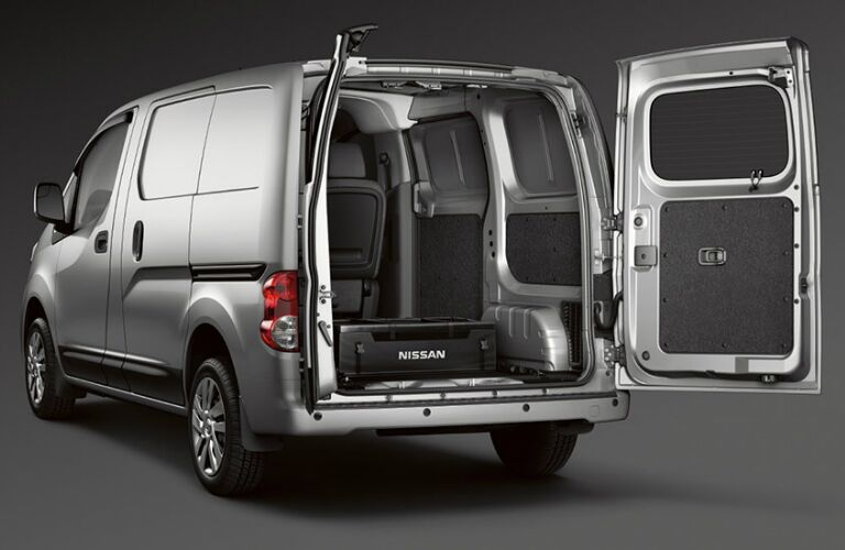 Back doors open on a 2018 Nissan NV200 Compact Cargo