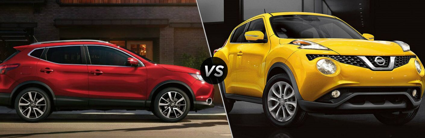 Red 2018 Nissan Rogue Sport and yellow 2017 Nissan Juke side by side
