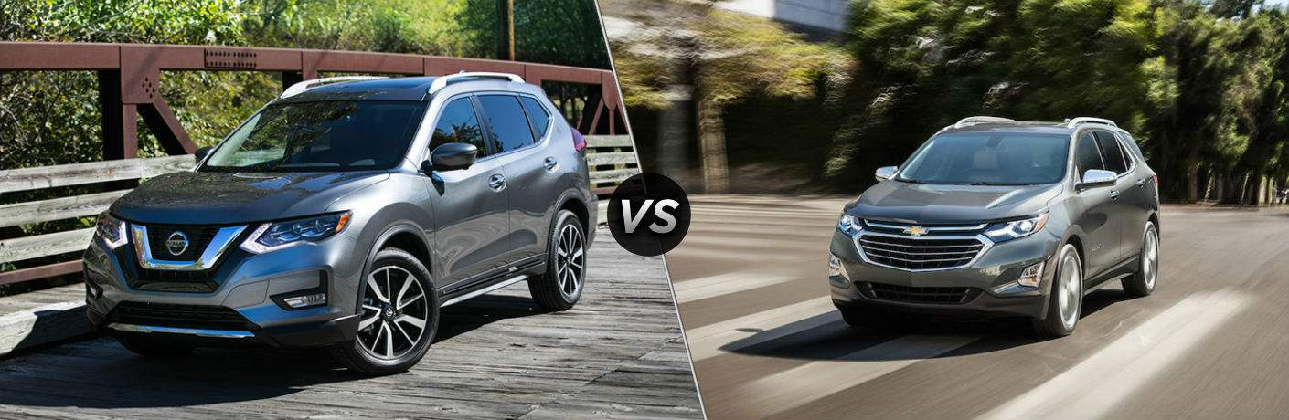 2018 Nissan Rogue in gray on left with 2018 Chevrolet Equinox on right