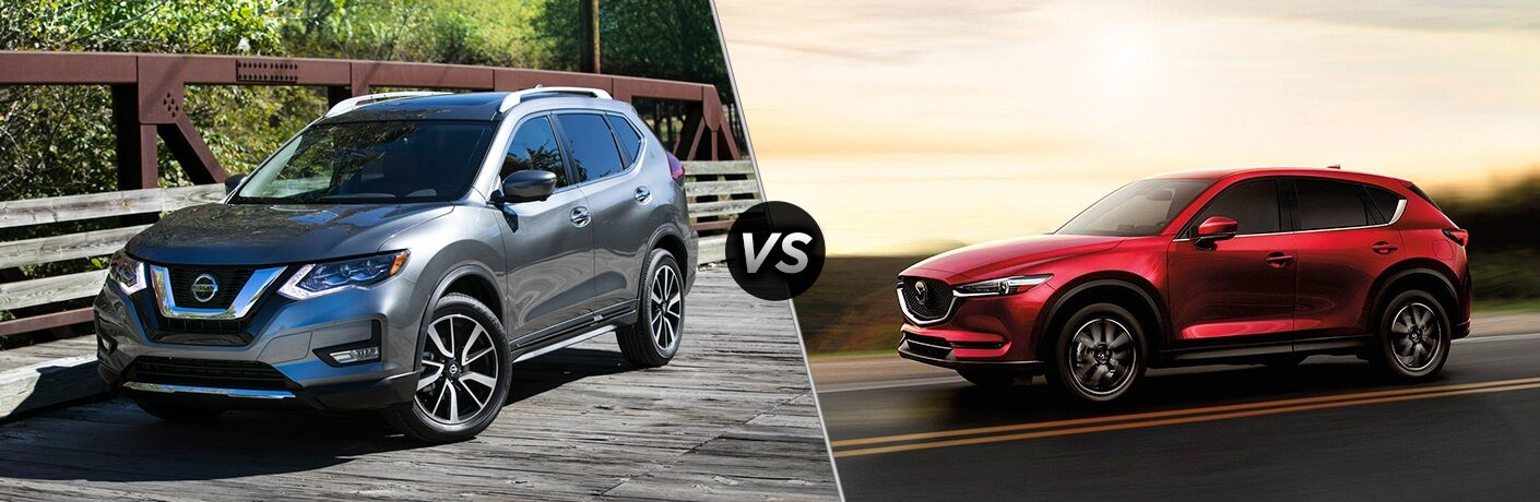 Silver 2018 Nissan Rogue and red 2018 Mazda CX-5 side by side