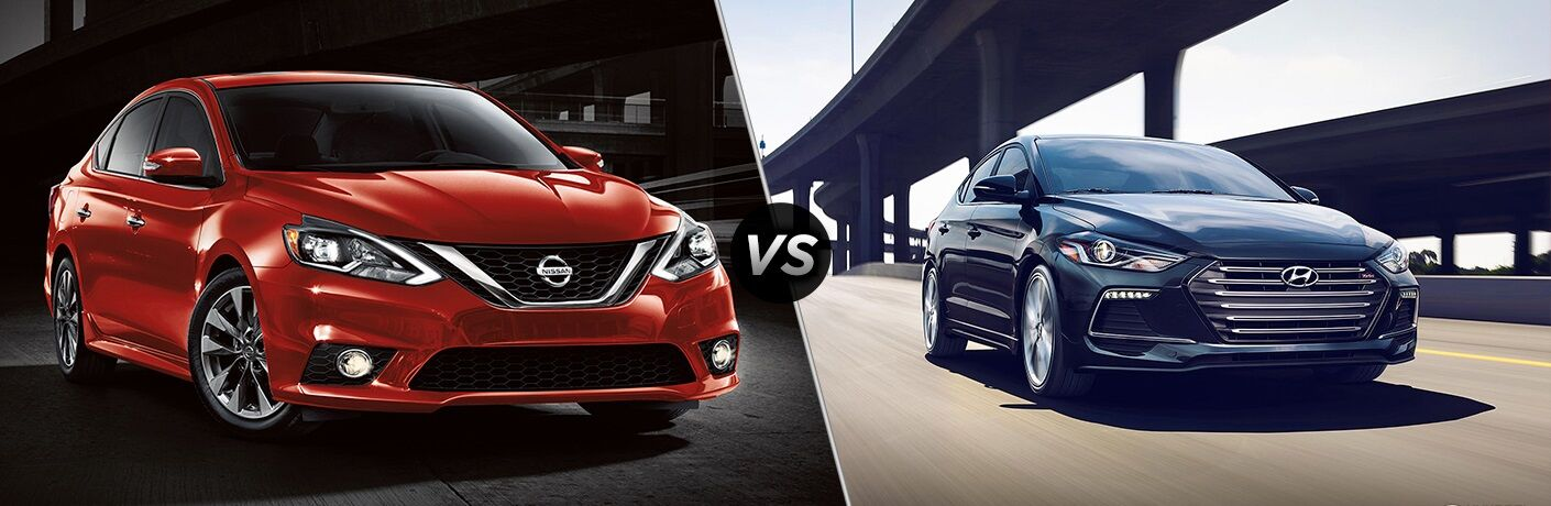 Red 2018 Nissan Sentra and blue 2018 Hyundai Elantra side by side