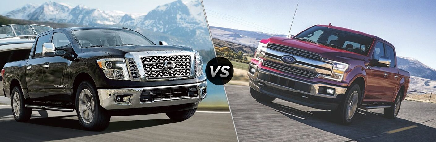 Black 2018 Nissan TITAN and red 2018 Ford F-150 side by side