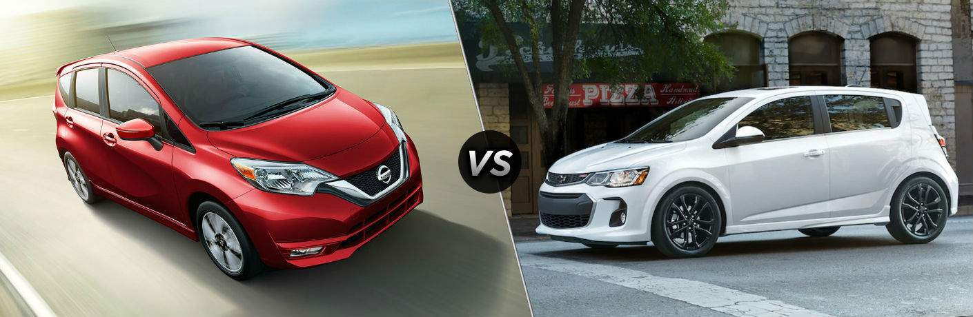 Red 2018 Nissan Versa Note vs White 2018 Chevy Sonic